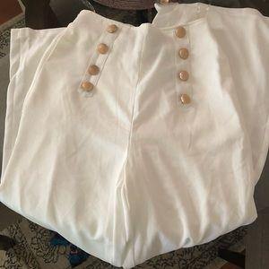 NWT Highwaisted white wide leg trouser